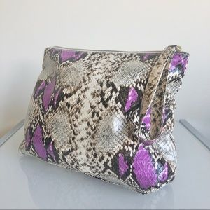 ELIZABETH ARDEN purple metallic snakeskin bag